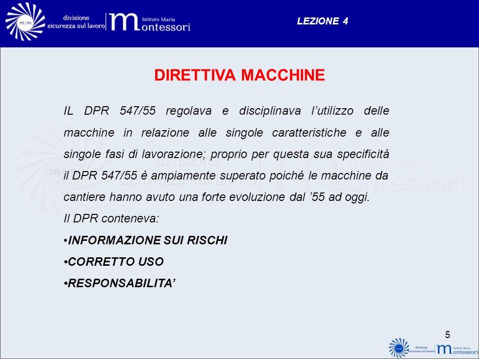 LEZIONE 4 DIRETTIVA MACCHINE IL DPR 547/55 regolava e disciplinava lutilizzo delle macchine in relazione alle singole caratteristiche e alle singole f