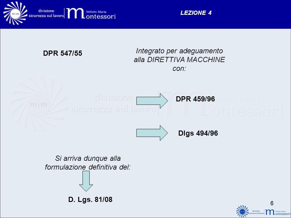 LEZIONE 4 DPR 547/55 Integrato per adeguamento alla DIRETTIVA MACCHINE con: DPR 459/96 Dlgs 494/96 Si arriva dunque alla formulazione definitiva del: D.