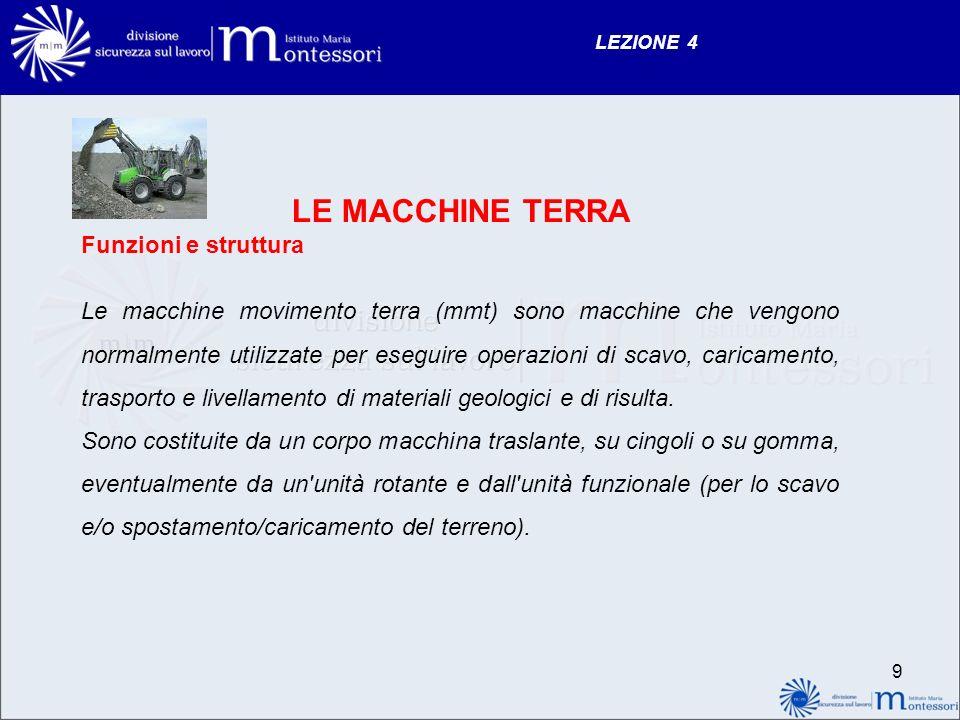 LEZIONE 4 LE MACCHINE TERRA Funzioni e struttura Le macchine movimento terra (mmt) sono macchine che vengono normalmente utilizzate per eseguire opera