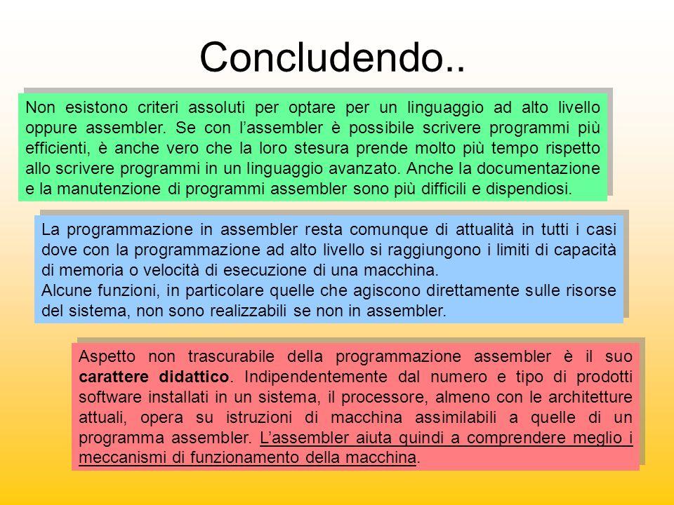 Concludendo.. Non esistono criteri assoluti per optare per un linguaggio ad alto livello oppure assembler. Se con lassembler è possibile scrivere prog