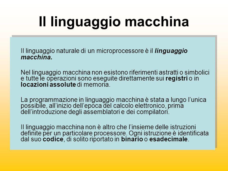 Il linguaggio macchina Il linguaggio naturale di un microprocessore è il linguaggio macchina. Nel linguaggio macchina non esistono riferimenti astratt