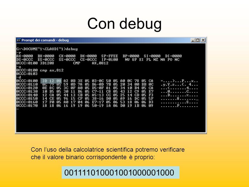 Con debug Con luso della calcolatrice scientifica potremo verificare che il valore binario corrispondente è proprio: 001111010001001000001000