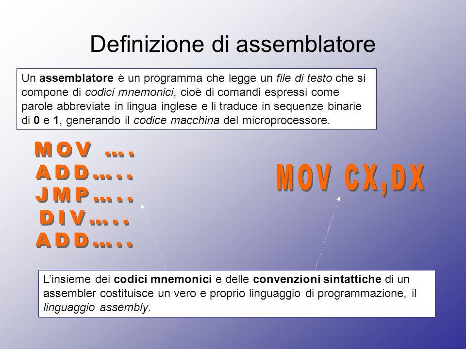 Definizione di assemblatore Un assemblatore è un programma che legge un file di testo che si compone di codici mnemonici, cioè di comandi espressi come parole abbreviate in lingua inglese e li traduce in sequenze binarie di 0 e 1, generando il codice macchina del microprocessore.
