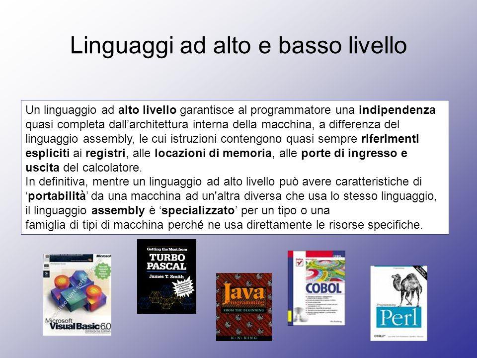 Linguaggi ad alto e basso livello Un linguaggio ad alto livello garantisce al programmatore una indipendenza quasi completa dallarchitettura interna d