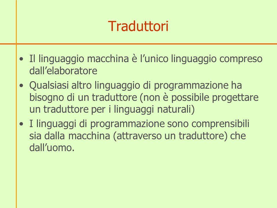 Traduttori Il linguaggio macchina è lunico linguaggio compreso dallelaboratore Qualsiasi altro linguaggio di programmazione ha bisogno di un traduttor