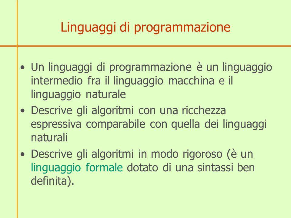 Linguaggi di programmazione Un linguaggi di programmazione è un linguaggio intermedio fra il linguaggio macchina e il linguaggio naturale Descrive gli