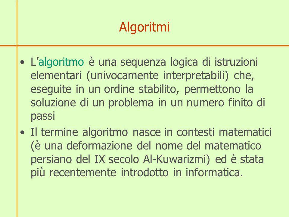 Algoritmi Dalla definizione di algoritmo si evincono le quattro proprietà fondamentali dell algoritmo: –la sequenza di istruzioni deve essere finita ( numero finito di passi) ; –essa deve portare ad un risultato ( permettono la soluzione di un problema) ; –le istruzioni devono essere eseguibili materialmente ( una sequenza logica di istruzioni elementari eseguite); –le istruzioni devono essere espresse in modo non ambiguo (univocamente interpretabili).