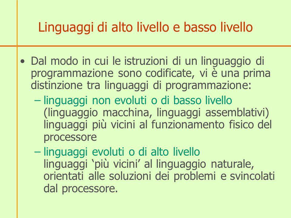 Linguaggi di alto livello e basso livello Dal modo in cui le istruzioni di un linguaggio di programmazione sono codificate, vi è una prima distinzione