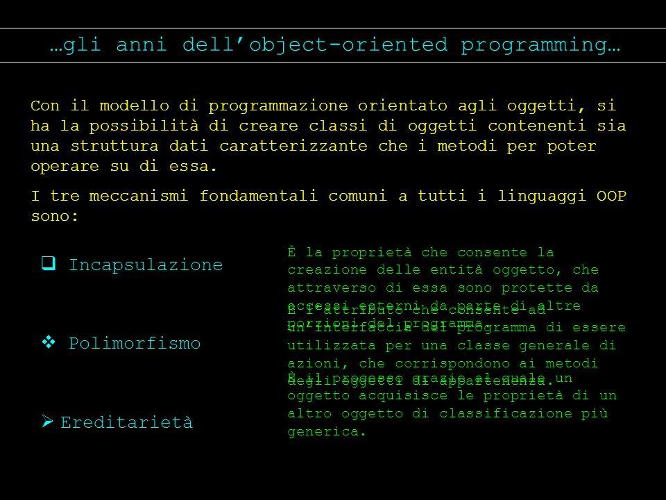 …gli anni dellobject-oriented programming… Con il modello di programmazione orientato agli oggetti, si ha la possibilità di creare classi di oggetti c