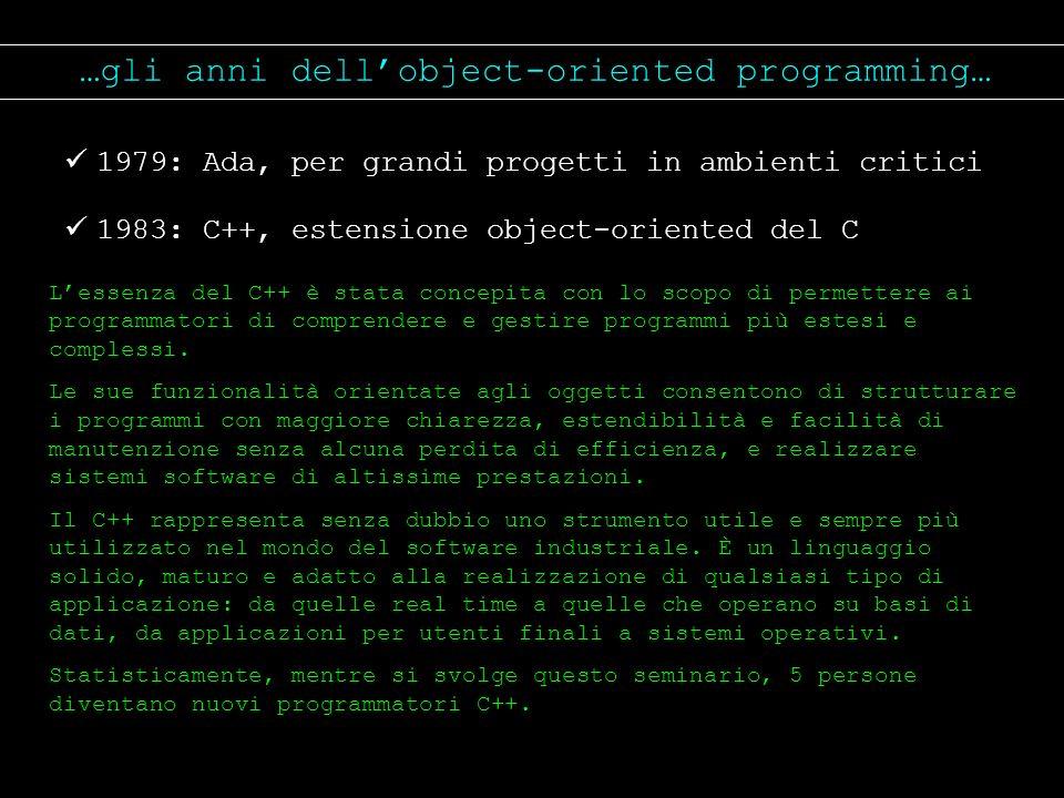 …gli anni dellobject-oriented programming… 1979: Ada, per grandi progetti in ambienti critici 1983: C++, estensione object-oriented del C Lessenza del
