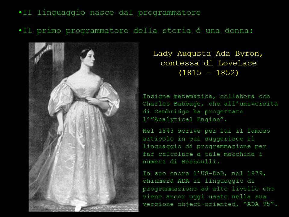Il linguaggio nasce dal programmatore Il primo programmatore della storia è una donna: Lady Augusta Ada Byron, contessa di Lovelace (1815 – 1852) Insi