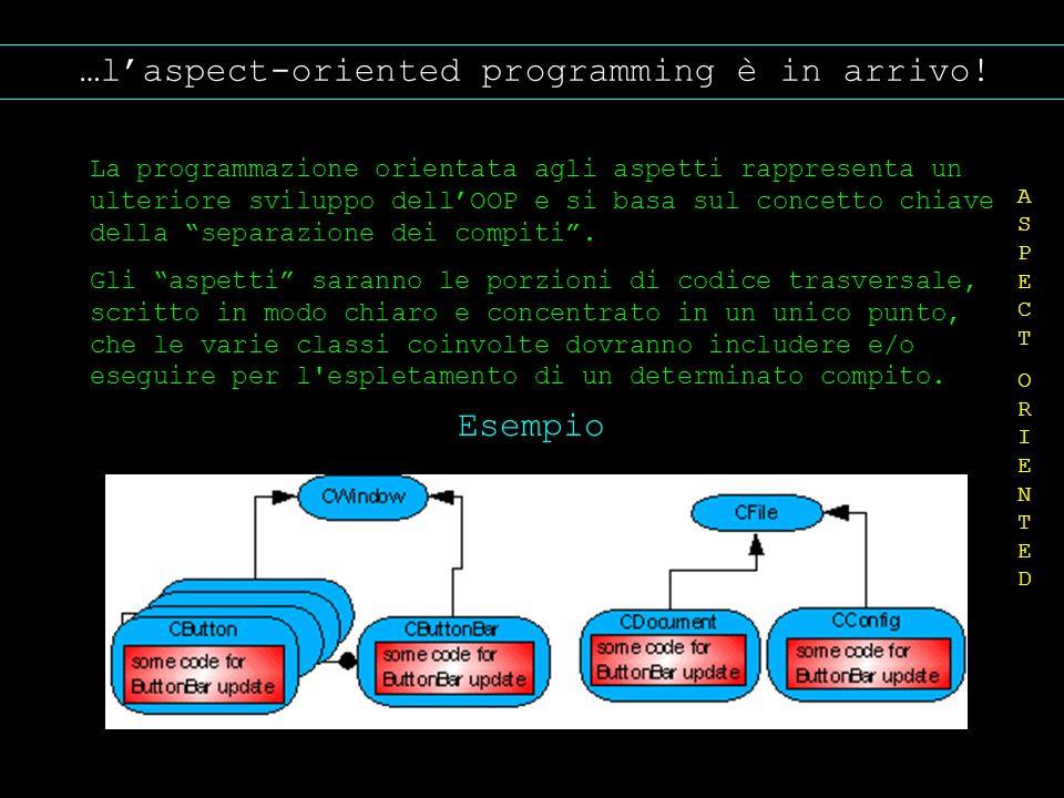 …laspect-oriented programming è in arrivo! La programmazione orientata agli aspetti rappresenta un ulteriore sviluppo dellOOP e si basa sul concetto c
