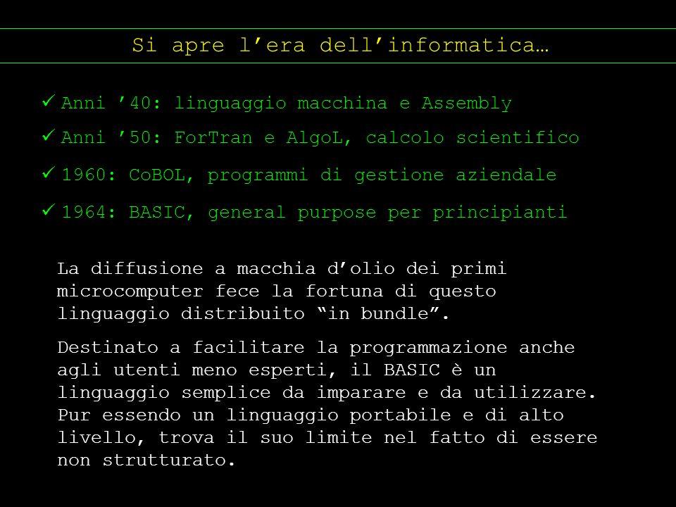 Si apre lera dellinformatica… Anni 40: linguaggio macchina e Assembly Anni 50: ForTran e AlgoL, calcolo scientifico 1960: CoBOL, programmi di gestione