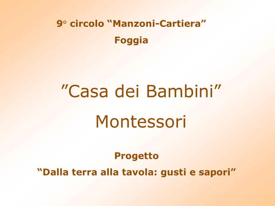 9° circolo Manzoni-Cartiera Foggia Casa dei Bambini Montessori Progetto Dalla terra alla tavola: gusti e sapori