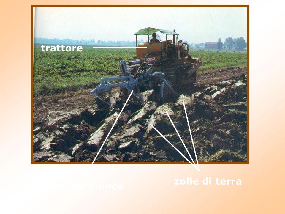 trattore aratro meccanico zolle di terra