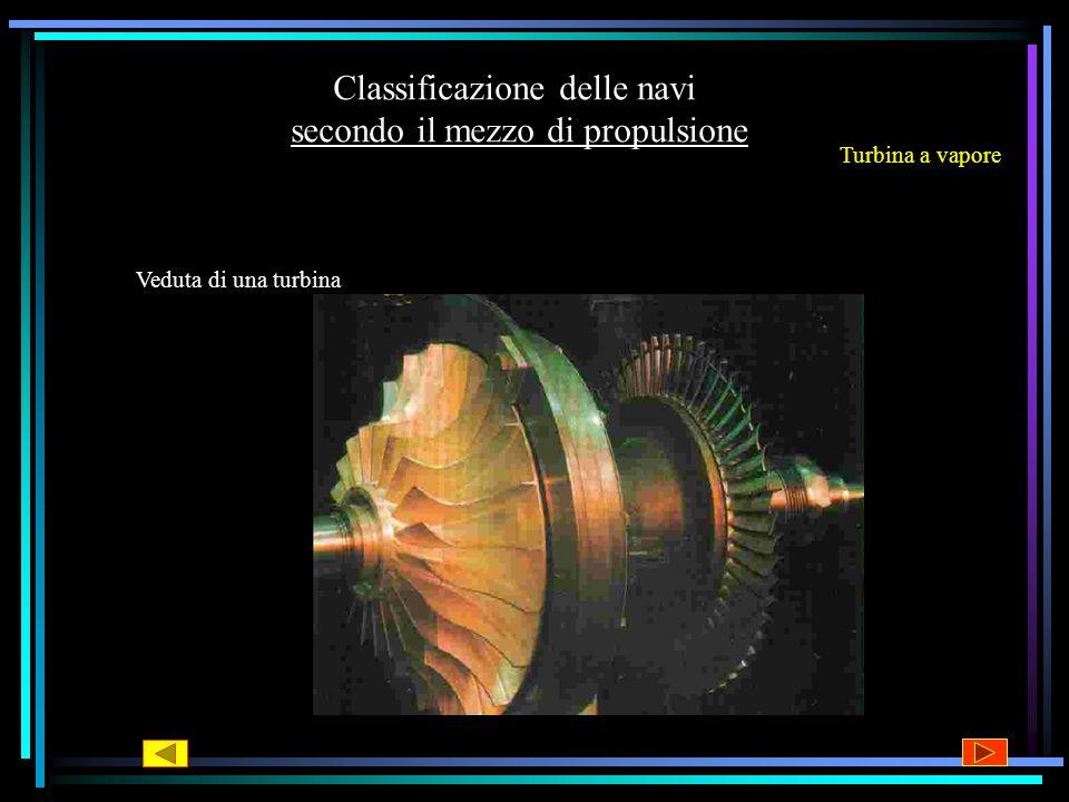 Classificazione delle navi secondo il mezzo di propulsione Turbina a vapore In questo tipo di motore il vapore generato nella caldaia viene convogliat