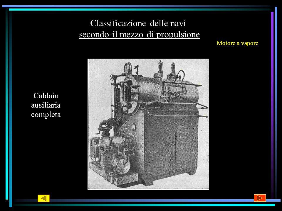 Classificazione delle navi secondo il mezzo di propulsione Motore a vapore Caldaia ausiliaria completa