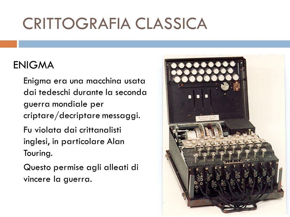 CRITTOGRAFIA CLASSICA ENIGMA Enigma era una macchina usata dai tedeschi durante la seconda guerra mondiale per criptare/decriptare messaggi. Fu violat