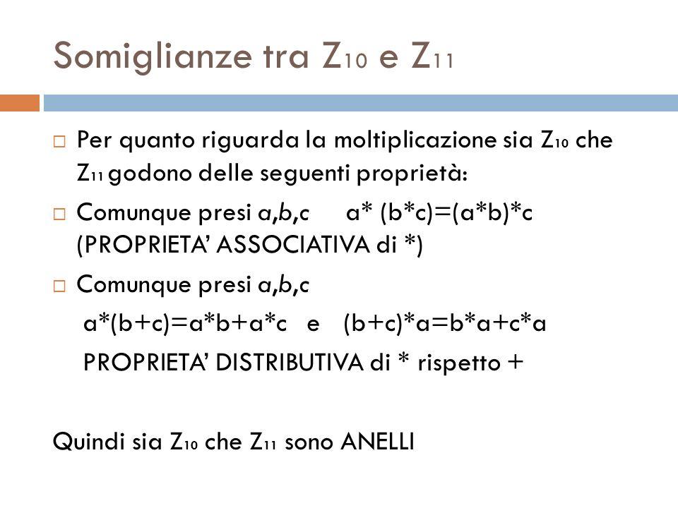 Somiglianze tra Z 10 e Z 11 Per quanto riguarda la moltiplicazione sia Z 10 che Z 11 godono delle seguenti proprietà: Comunque presi a,b,c a* (b*c)=(a