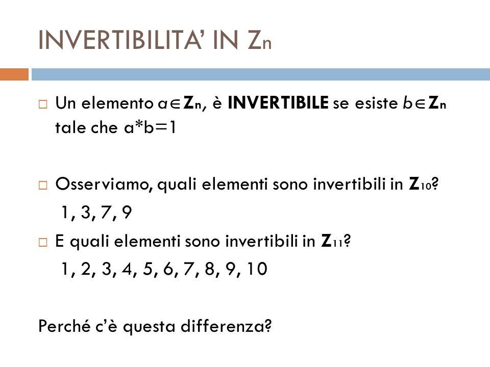 INVERTIBILITA IN Z n Un elemento a Z n, è INVERTIBILE se esiste b Z n tale che a*b=1 Osserviamo, quali elementi sono invertibili in Z 10 ? 1, 3, 7, 9