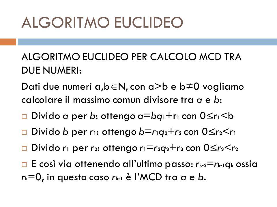 ALGORITMO EUCLIDEO ALGORITMO EUCLIDEO PER CALCOLO MCD TRA DUE NUMERI: Dati due numeri a,b N, con a>b e b0 vogliamo calcolare il massimo comun divisore