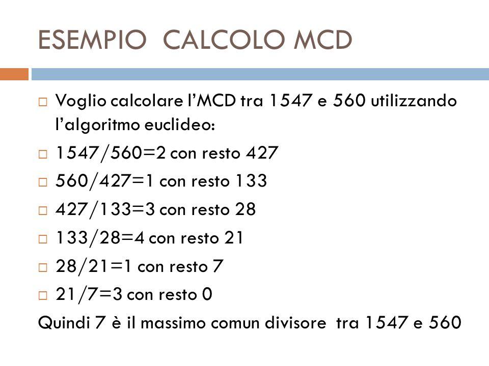ESEMPIO CALCOLO MCD Voglio calcolare lMCD tra 1547 e 560 utilizzando lalgoritmo euclideo: 1547/560=2 con resto 427 560/427=1 con resto 133 427/133=3 c