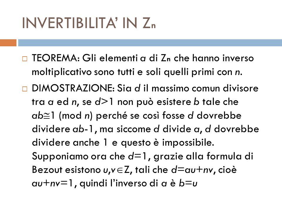 INVERTIBILITA IN Z n TEOREMA: Gli elementi a di Z n che hanno inverso moltiplicativo sono tutti e soli quelli primi con n. DIMOSTRAZIONE: Sia d il mas