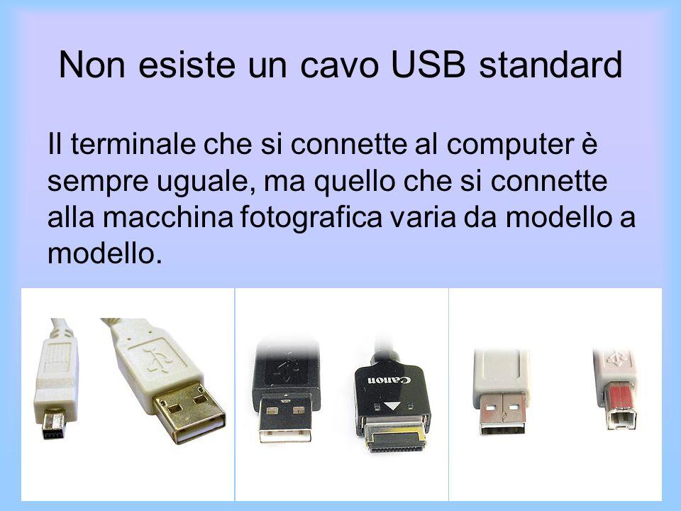 Non esiste un cavo USB standard Il terminale che si connette al computer è sempre uguale, ma quello che si connette alla macchina fotografica varia da