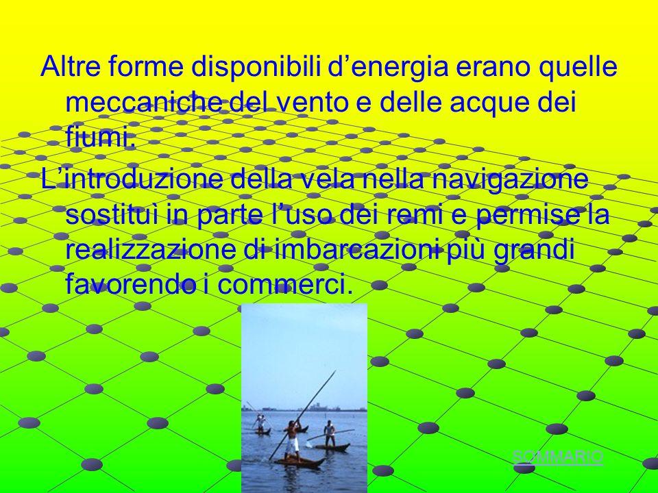 Altre forme disponibili denergia erano quelle meccaniche del vento e delle acque dei fiumi.