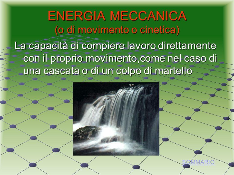 ENERGIA MECCANICA (o di movimento o cinetica) La capacità di compiere lavoro direttamente con il proprio movimento,come nel caso di una cascata o di un colpo di martello SOMMARIO