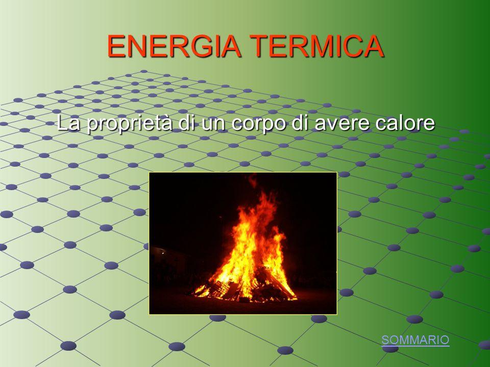 ENERGIA TERMICA La proprietà di un corpo di avere calore SOMMARIO