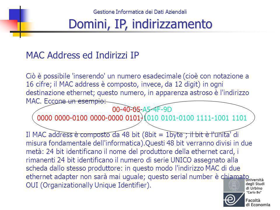 Gestione Informatica dei Dati Aziendali Domini, IP, indirizzamento MAC Address ed Indirizzi IP Ciò è possibile 'inserendo' un numero esadecimale (cioè