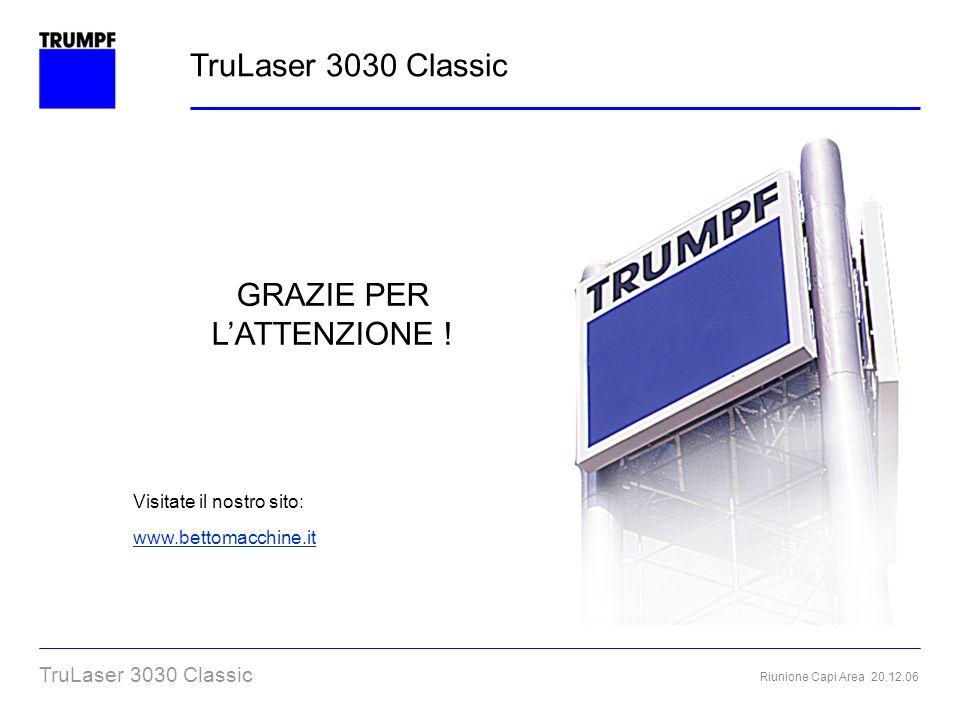 Riunione Capi Area 20.12.06 TruLaser 3030 Classic Grazie per lattenzione TruLaser 3030 Classic GRAZIE PER LATTENZIONE ! Visitate il nostro sito: www.b