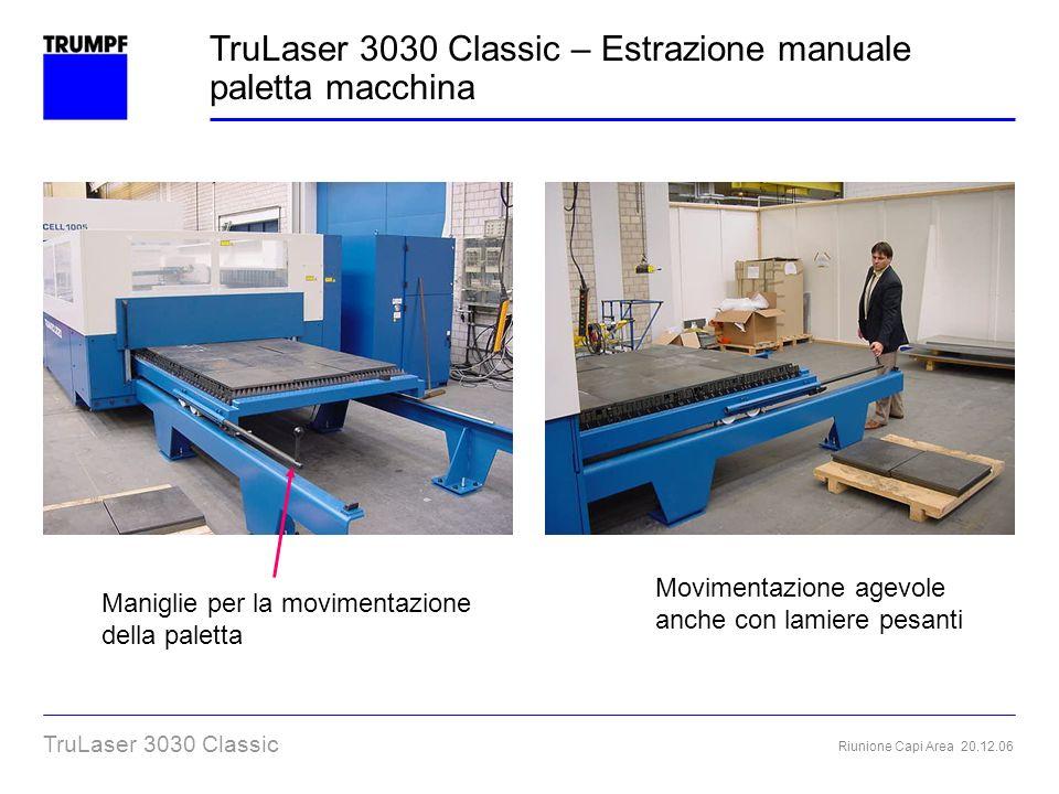 Riunione Capi Area 20.12.06 TruLaser 3030 Classic Maniglie per la movimentazione della paletta Movimentazione agevole anche con lamiere pesanti TruLas