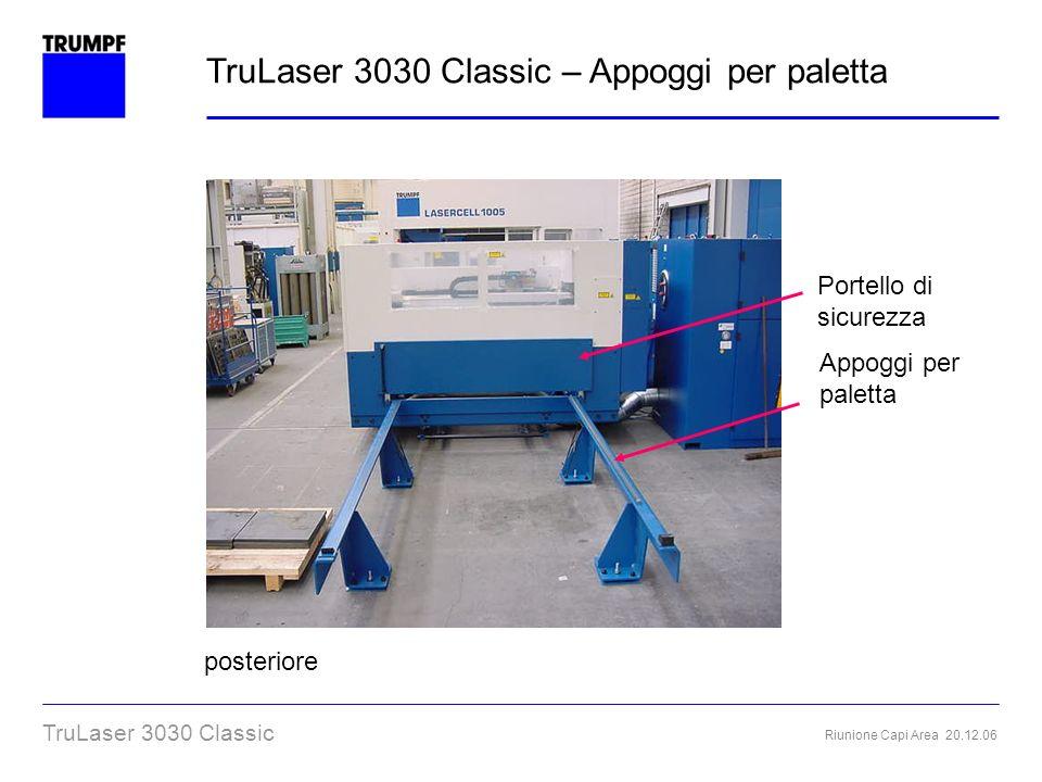 Riunione Capi Area 20.12.06 TruLaser 3030 Classic Portello di sicurezza posteriore Appoggi per paletta TruLaser 3030 Classic – Appoggi per paletta