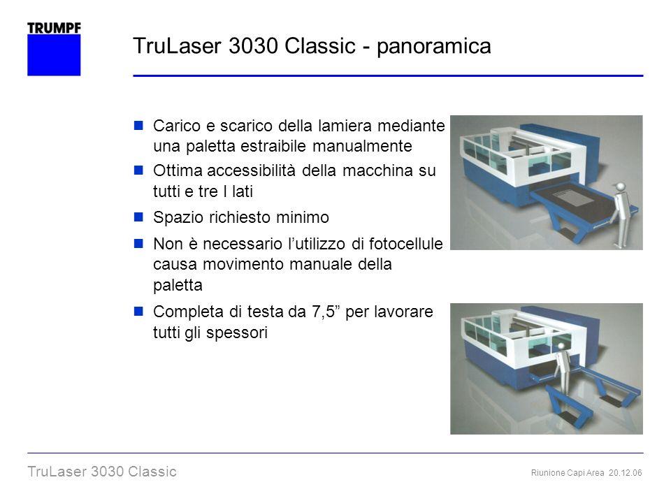 Riunione Capi Area 20.12.06 TruLaser 3030 Classic TruLaser 3030 Classic - panoramica Carico e scarico della lamiera mediante una paletta estraibile ma