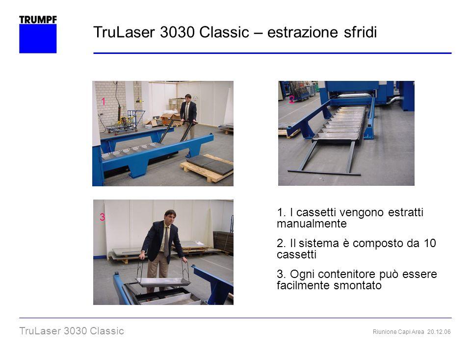 Riunione Capi Area 20.12.06 TruLaser 3030 Classic 1 2 1. I cassetti vengono estratti manualmente 2. Il sistema è composto da 10 cassetti 3. Ogni conte