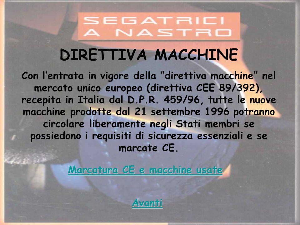 DIRETTIVA MACCHINE Con lentrata in vigore della direttiva macchine nel mercato unico europeo (direttiva CEE 89/392), recepita in Italia dal D.P.R.