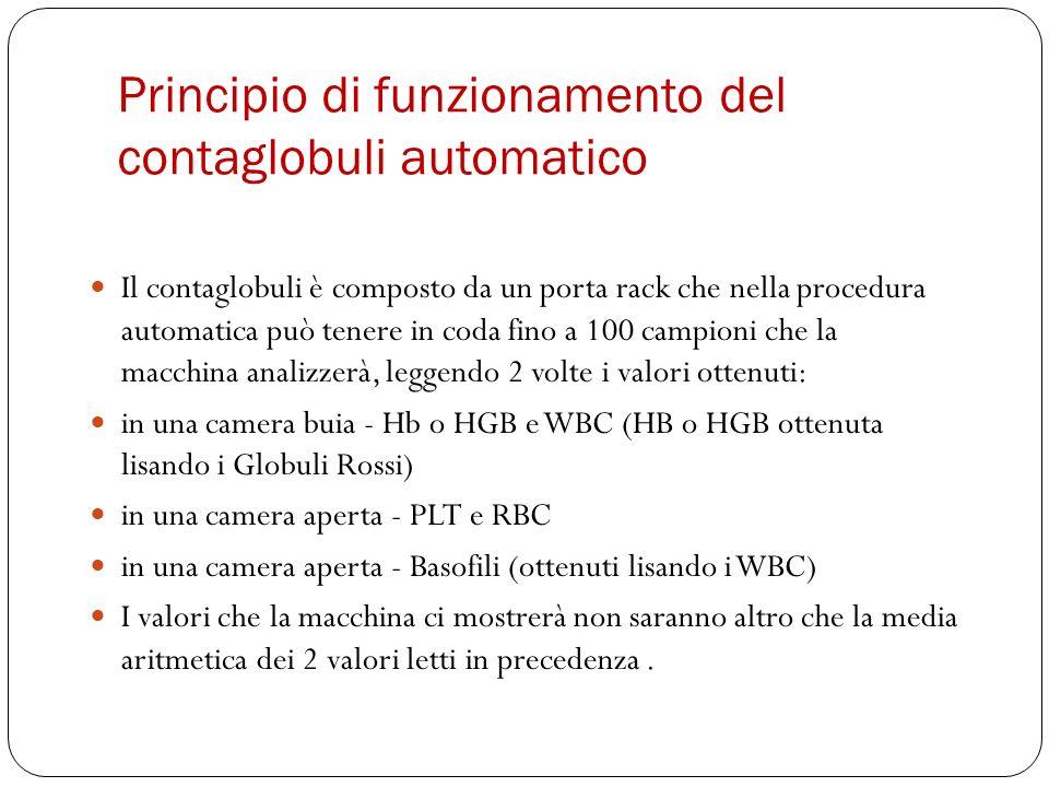 Principio di funzionamento del contaglobuli automatico Il contaglobuli è composto da un porta rack che nella procedura automatica può tenere in coda f