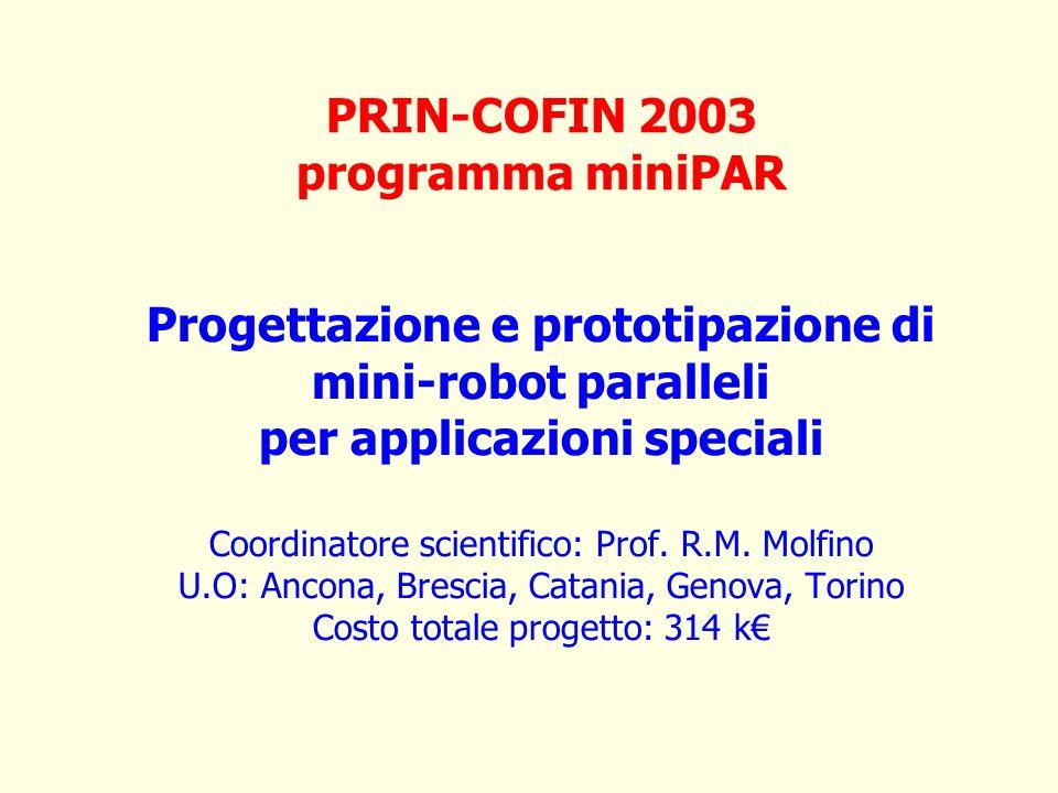 Progettazione e prototipazione di mini-robot paralleli per applicazioni speciali Coordinatore scientifico: Prof. R.M. Molfino U.O: Ancona, Brescia, Ca