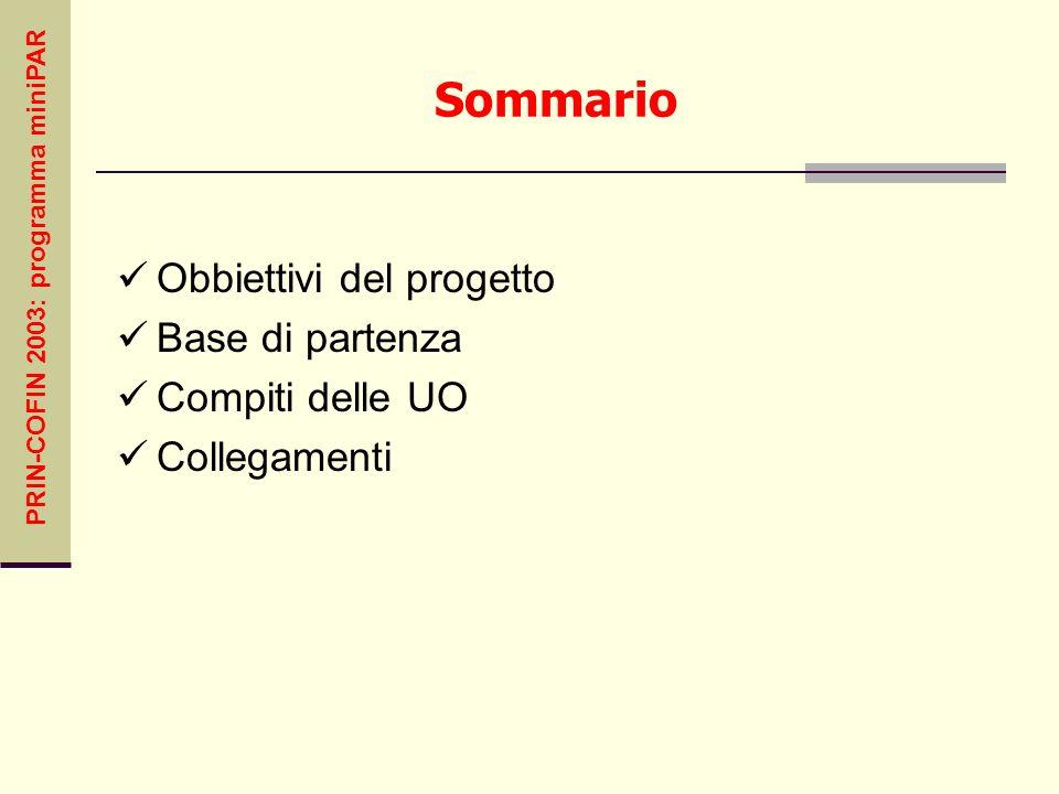 PRIN-COFIN 2003: programma miniPAR Sommario Obbiettivi del progetto Base di partenza Compiti delle UO Collegamenti