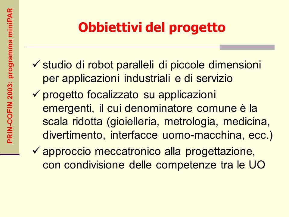 PRIN-COFIN 2003: programma miniPAR Obbiettivi del progetto studio di robot paralleli di piccole dimensioni per applicazioni industriali e di servizio