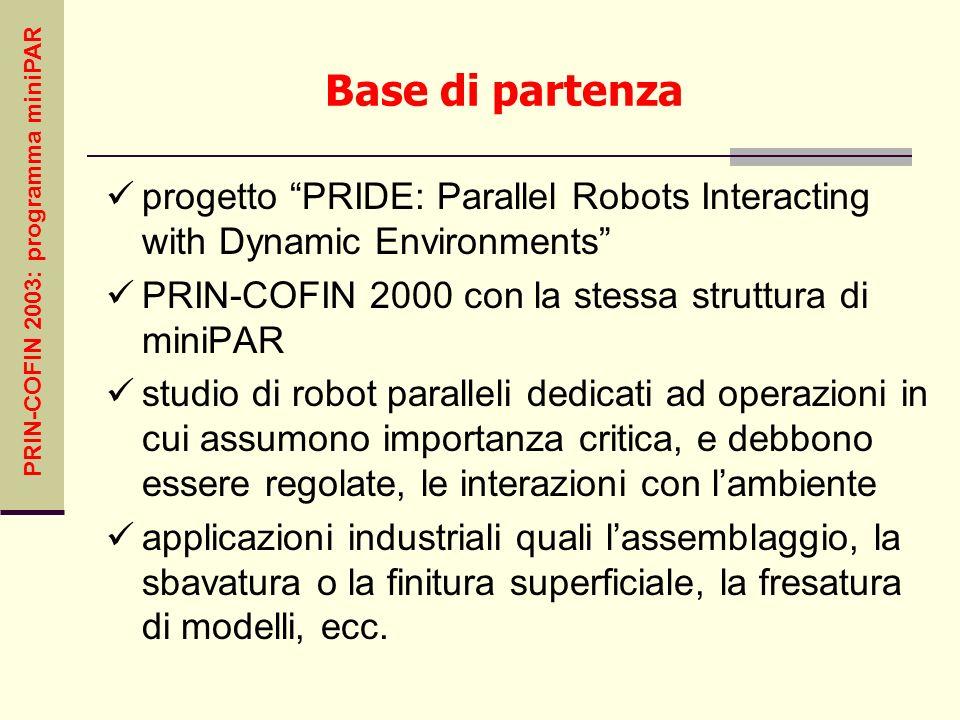 PRIN-COFIN 2003: programma miniPAR Base di partenza progetto PRIDE: Parallel Robots Interacting with Dynamic Environments PRIN-COFIN 2000 con la stess