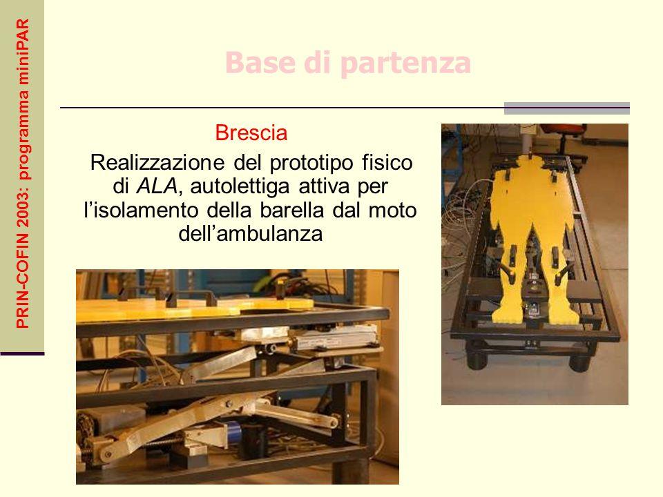PRIN-COFIN 2003: programma miniPAR Base di partenza Brescia Realizzazione del prototipo fisico di ALA, autolettiga attiva per lisolamento della barell