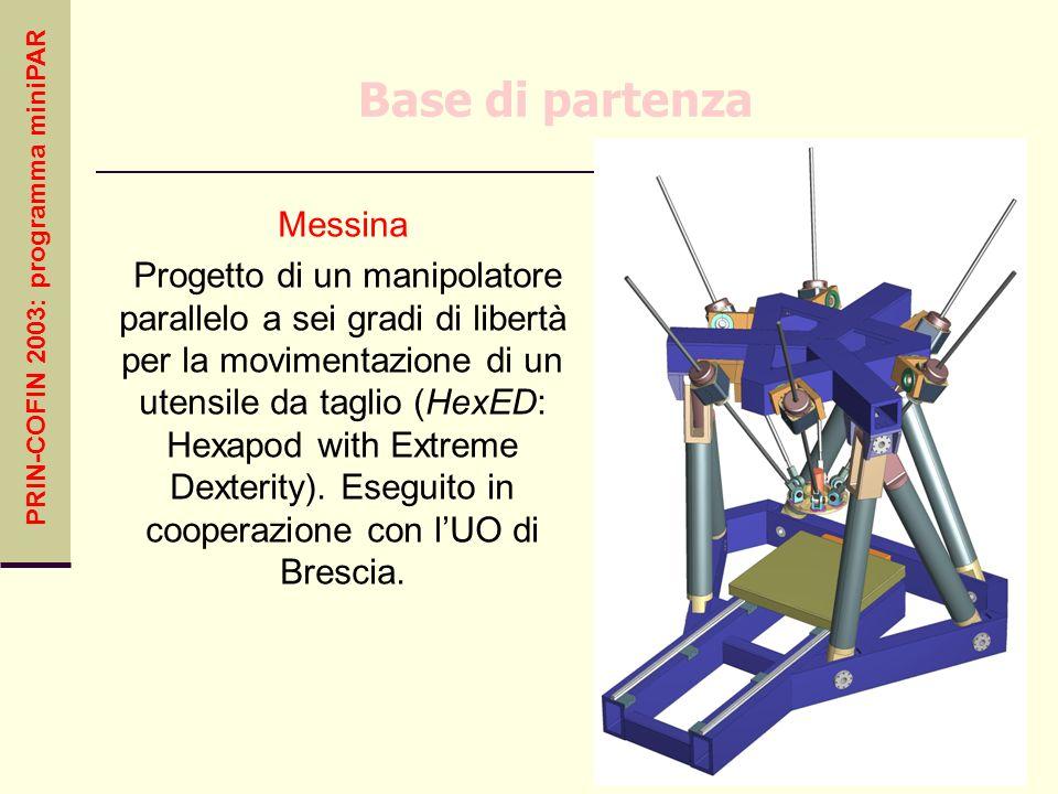 PRIN-COFIN 2003: programma miniPAR Base di partenza Messina Progetto di un manipolatore parallelo a sei gradi di libertà per la movimentazione di un u