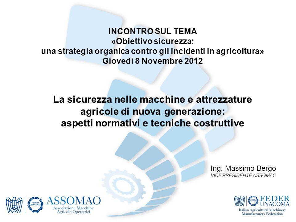 INCONTRO SUL TEMA «Obiettivo sicurezza: una strategia organica contro gli incidenti in agricoltura» Giovedì 8 Novembre 2012 La sicurezza nelle macchin