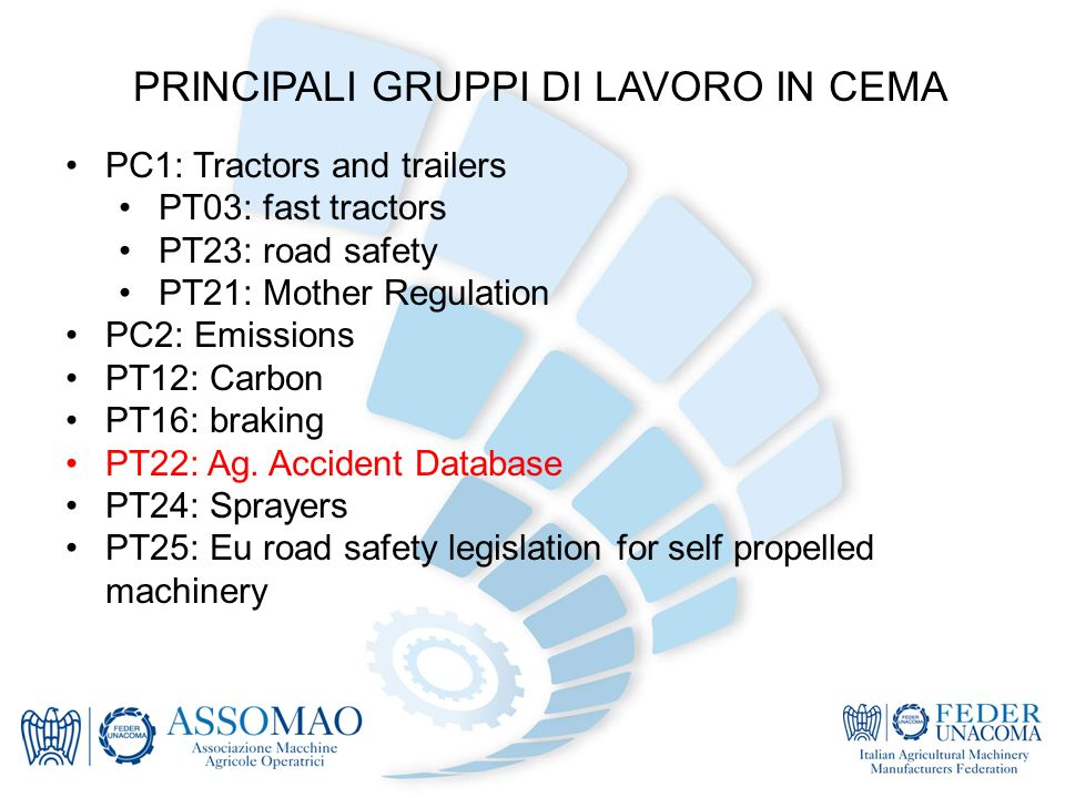 PRINCIPALI GRUPPI DI LAVORO IN CEMA PC1: Tractors and trailers PT03: fast tractors PT23: road safety PT21: Mother Regulation PC2: Emissions PT12: Carbon PT16: braking PT22: Ag.