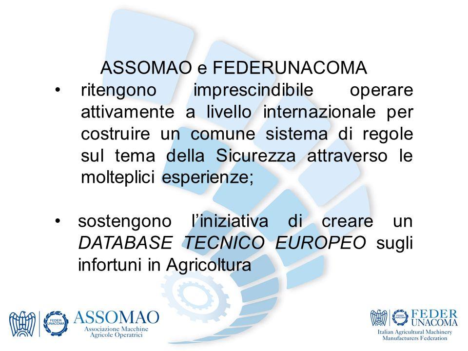 ASSOMAO e FEDERUNACOMA ritengono imprescindibile operare attivamente a livello internazionale per costruire un comune sistema di regole sul tema della Sicurezza attraverso le molteplici esperienze; sostengono liniziativa di creare un DATABASE TECNICO EUROPEO sugli infortuni in Agricoltura