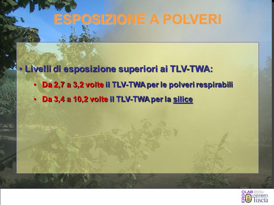 ESPOSIZIONE A POLVERI Livelli di esposizione superiori ai TLV-TWA:Livelli di esposizione superiori ai TLV-TWA: Da 2,7 a 3,2 volte il TLV-TWA per le po