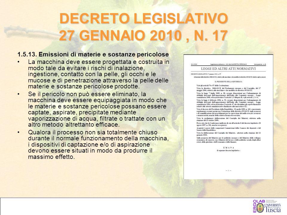 DECRETO LEGISLATIVO 27 GENNAIO 2010, N. 17 1.5.13. Emissioni di materie e sostanze pericolose La macchina deve essere progettata e costruita in modo t